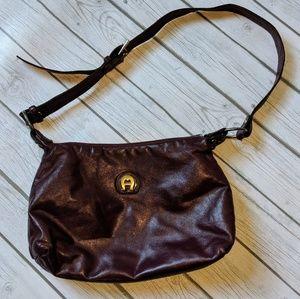 Etienne Aigner Leather Burgundy Shoulder Bag